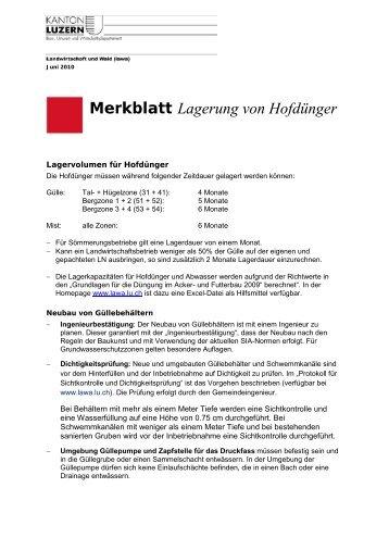 Merkblatt Lagerung von Hofdünger