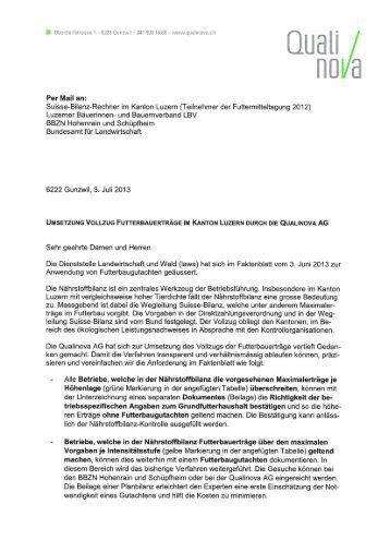 Infoschreiben Umsetzung Vollzug Futterbauerträge Qualinova AG ...