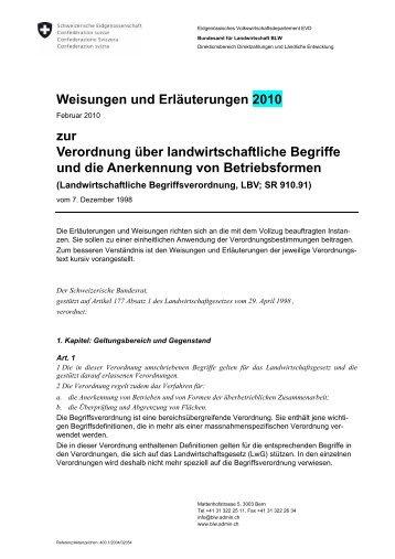 LBV 2010 mit Weisungen und Erläuterungen - Qualinova AG