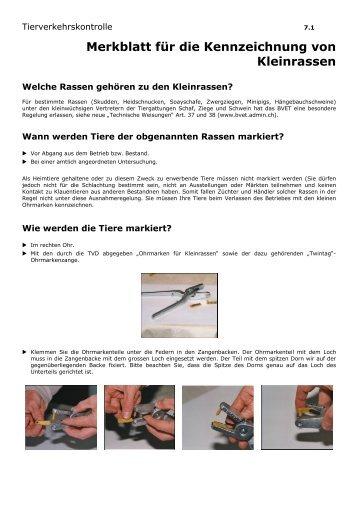 Merkblatt für die Kennzeichnung von Kleinrassen - Qualinova AG
