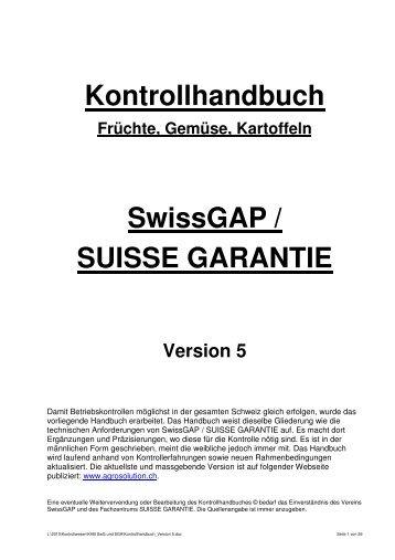 Kontrollhandbuch SwissGAP / SUISSE GARANTIE - Agrosolution AG