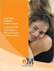 Magellan Health Services Using the SF-BH ... - QualityMetric