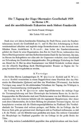 Die 7. Tagung der Hugo Obermaier-Gesellschaft 1959 ... - Quartaer.eu