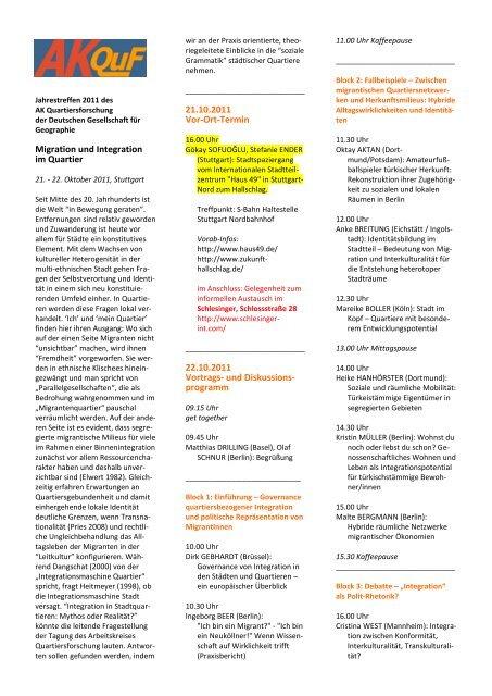Tagungsprogramm AKQuF Stuttgart 2011 - Arbeitskreis ...