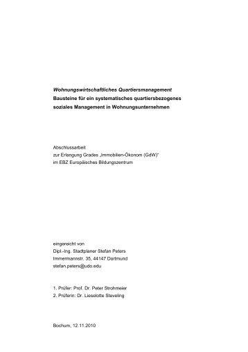 Wohnungswirtschaftliches Quartiersmanagement Bausteine für ein ...