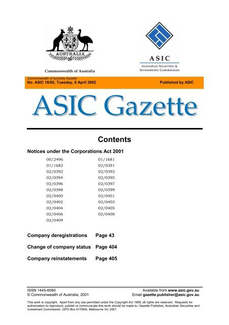 Contents - Australian Securities and Investments Commission
