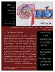 Medieval QUB Newsletter Sem 1 2013 - Queen's University Belfast