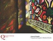MA brochure - Medieval Studies copy - Queen's University Belfast