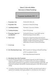 Programme Specification 2012 / 13 - Queen's University Belfast