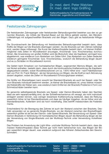 Festsitzende Spangen - in der Kieferorthopädischen Fachpraxis ...