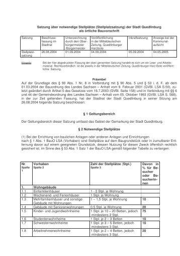 (5.18 Satzung über notwendige Stellplätze ... - Quedlinburg