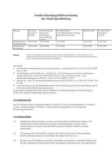 (5.05 Sondernutzungsgebührensatzung ) - Quedlinburg