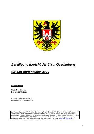 Beteiligungsbericht der Stadt Quedlinburg für das Berichtsjahr 2009
