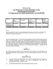 Satzung zur Erhebung von Elternbeiträgen in den ... - Quedlinburg