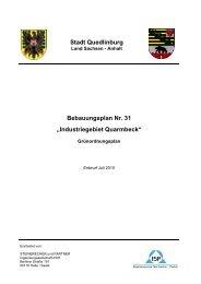 """Stadt Quedlinburg Bebauungsplan Nr. 31 """"Industriegebiet Quarmbeck"""""""