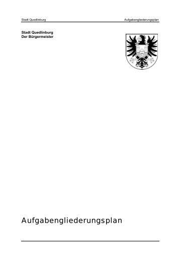 Aufgabengliederungsplan - Quedlinburg