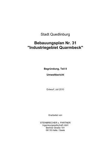 """Bebauungsplan Nr. 31 """"Industriegebiet Quarmbeck"""" - Quedlinburg"""