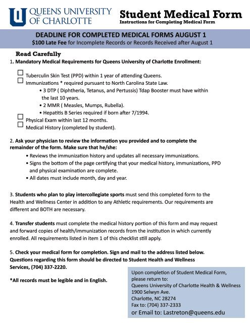 sports physical form nc  Student Medical Form - Queens University of Charlotte