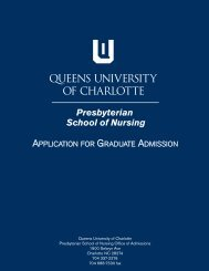 application for graduate admission - Queens University of Charlotte