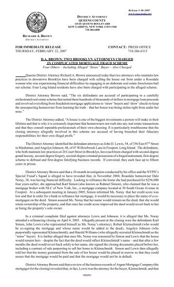 for immediate release contact: press office - Queens County District ...