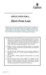 Short Term Loan Application - Queen's University