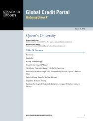 Standard & Poor's Credit Rating Report 2010 - Queen's University