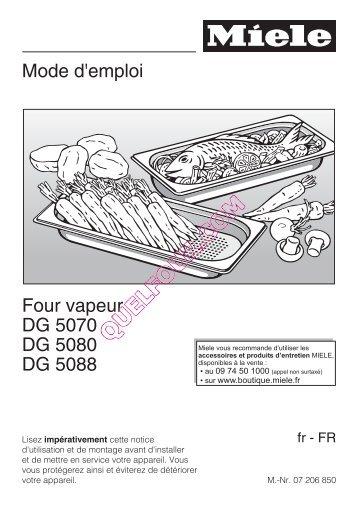 Mode d'emploi Four vapeur DG 5070 DG 5080 DG 5088 - Quel four