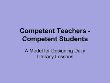 Competent Teachers -Competent Students