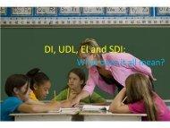 DI, UDL, EI and SDI