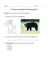 1 Grade Library Skills Pre-Test Assessment