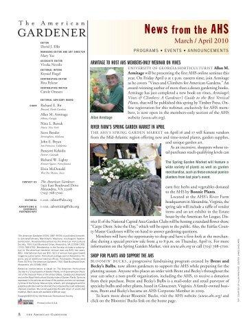 2010 CALENDAR - American Horticultural Society