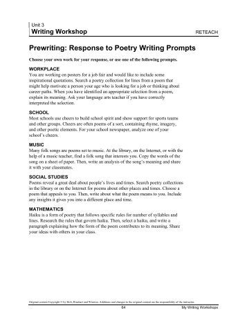 response to poetry essay Complete a variety of assignments to accomplish these goals including a personal poetry journal and one essay following the directions given on pages 321-323 of your literature book, write a three paragraph essay in response to any poem you choose see the.