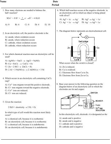 electrochemistry questions and answers pdf