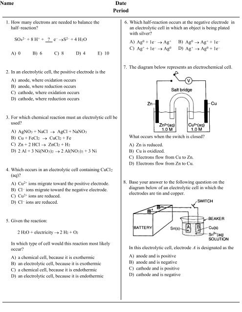 Electrochemistry Practice questions with Answers - Quia