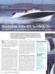 Essai bateau Activ 675 Sundeck - Magazine: Le ... - Quicksilver Boats