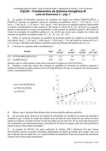 Lista de Exercícios 2 - Departamento de Química - Universidade ...