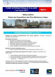 FOIRE INTERNATIONALE D'ALGER 1 au 6 juin 2011 Algérie