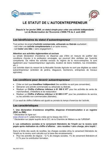 le statut de l'autoentrepreneur - (CCI) de Quimper Cornouaille