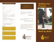 Building Our Presence . . . Brick-by-Brick - Quincy University