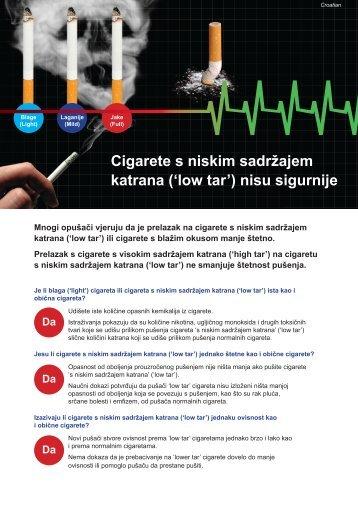 Cigarete s niskim sadržajem katrana ('low tar') - Quit Victoria