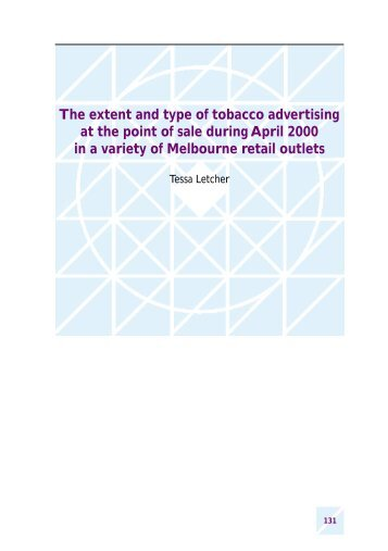 The extent and type of tobacco advertising at the point ... - Quit Victoria
