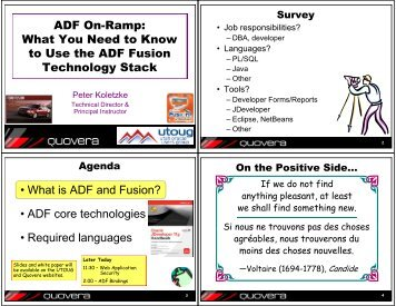 ADF On-Ramp - Utah Oracle Users Group