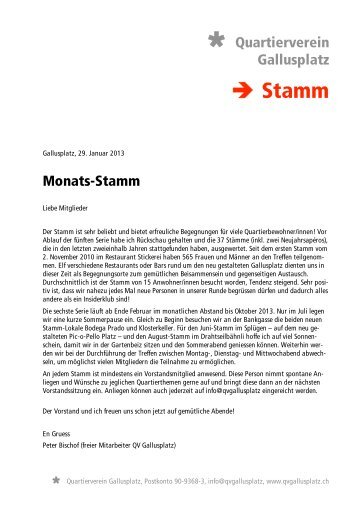 → Stamm - Quartierverein Gallusplatz