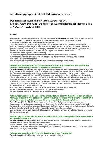 Aufklärungsgruppe Krokodil Exklusiv-Interviews: Der heidnisch ...