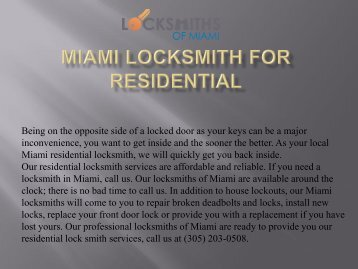 Miami Locksmith for Residential