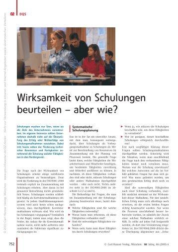 Wirksamkeit von Schulungen beurteilen ± aber wie? - QZ-online.de