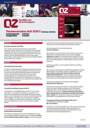 Themenvorschau Heft 9/2012 (Änderungen ... - QZ-online.de