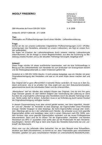 INGOLF FRIEDERICI - QZ-online.de