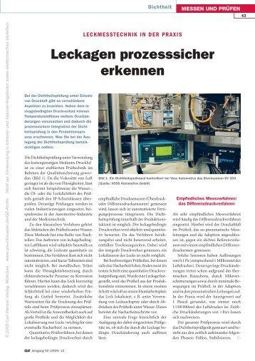 Leckagen prozesssicher erkennen - QZ-online.de