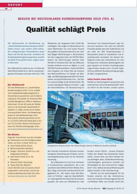 Qualität schlägt Preis - QZ-online.de